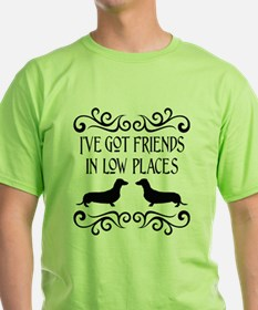 Friends In Low Places Dachshund Blk T-Shirt