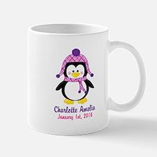 Pink Penguin CUSTOM Name Birthdate Mugs
