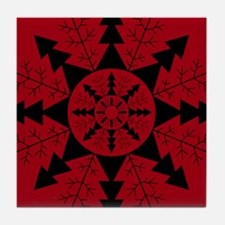 Red Snowflake Design Tile Coaster