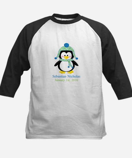 Blue Plaid Penguin Baseball Jersey