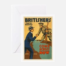 Britishers Come Across Now WWI Propa Greeting Card
