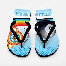 Billiard Ball and Rainbow Stripe Pool S Flip Flops