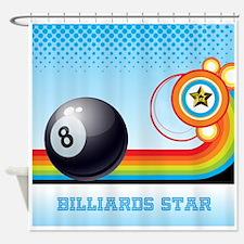 Billiard Ball and Rainbow Stripe Po Shower Curtain