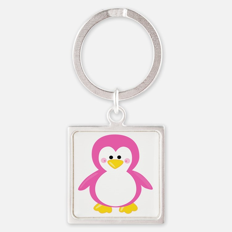 Cute Pink penguin Square Keychain