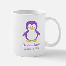 Purple Penguin CUSTOM Name Birthdate Mugs