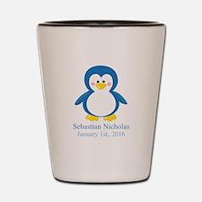 Blue Penguin CUSTOM Name Birthdate Shot Glass