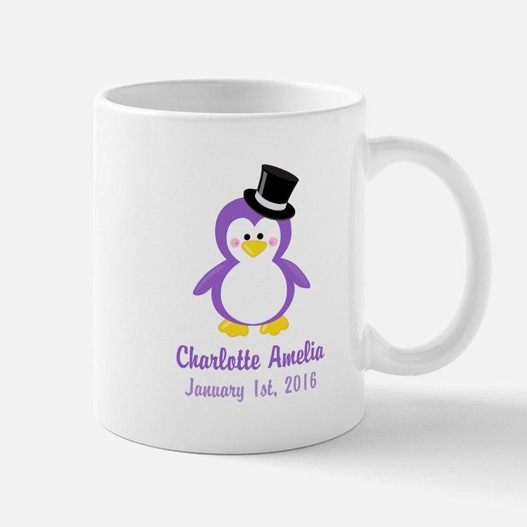 Purple Penguin Top Hat CUSTOM Name Birthdate Mugs
