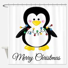 Unique Christmas penguin Shower Curtain