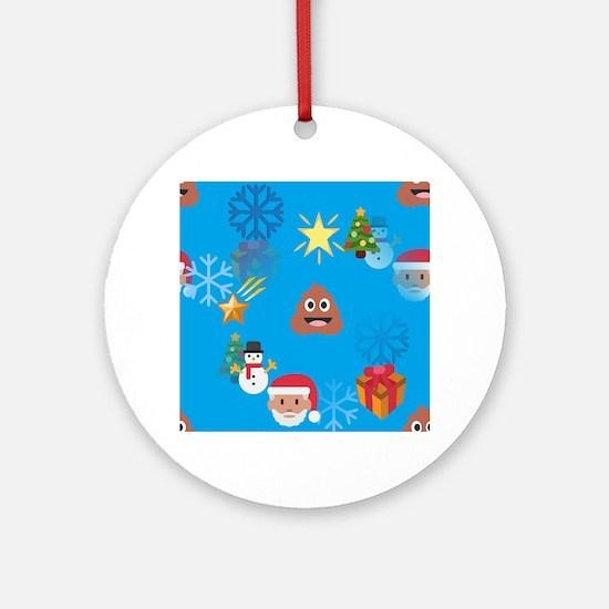christmas poop emoji Round Ornament