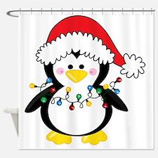 Cute Christmas penguin Shower Curtain
