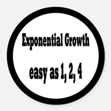 Exponential Growth 1, 2, 4 Round Car Magnet