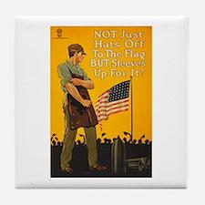 American Flag Sleeves Up WWI Propagan Tile Coaster