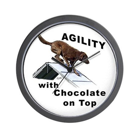 Chocolate Lab Agility Wall Clock