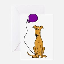 Greyhound Dog with Balloon Greeting Cards