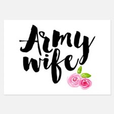 Army Wife Pink Roses Invitations