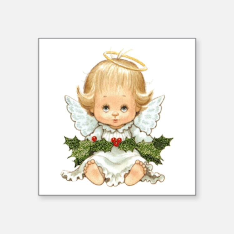Cute Christmas Baby Angel And Holly Sticker
