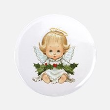 Cute Christmas Baby Angel And Holly Button