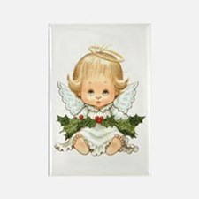 Cute Christmas Baby Angel And Holly Magnets