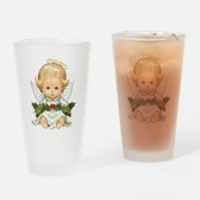 Cute Christmas Baby Angel And Holly Drinking Glass