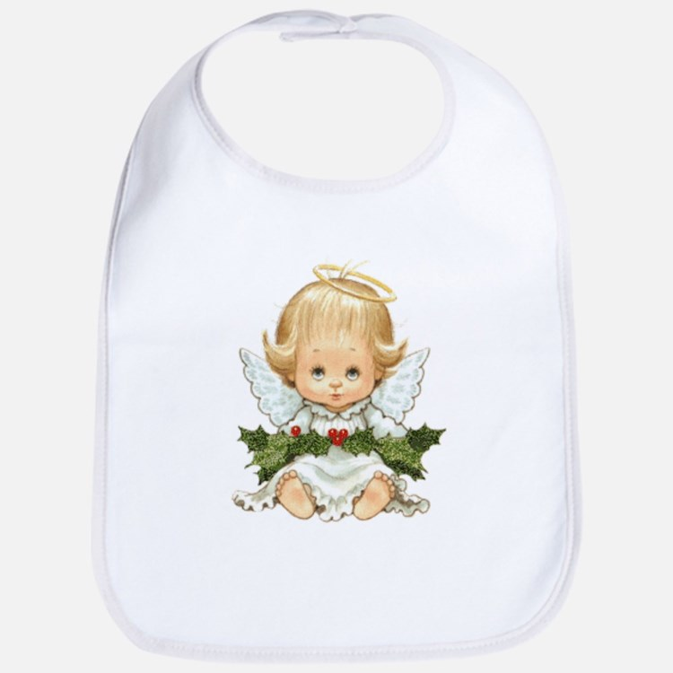 Cute Christmas Baby Angel And Holly Bib