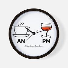 COFFEE AM WINE PM Wall Clock