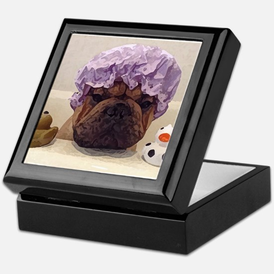 Frenchie Bathtime Keepsake Box