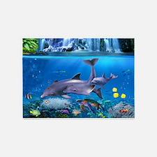 The Dolphin Family 5'x7'Area Rug