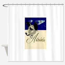 Laika Dog Cosmonaut USSR Space Vint Shower Curtain