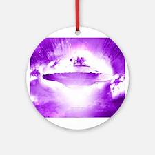 Purple Rays Ufo (pleiadian Soul) Round Ornament