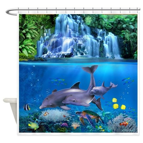 The Dolphin Family Shower Curtain