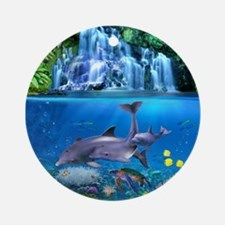 The Dolphin Family Round Ornament