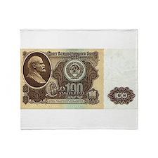 Ruble Soviet Communist currency Throw Blanket