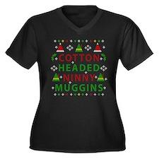 Elf Cotton H Women's Plus Size V-Neck Dark T-Shirt