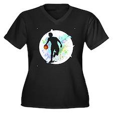 Cute Basketball Women's Plus Size V-Neck Dark T-Shirt