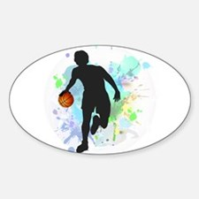 Basketball Player Dribbling Ball in Circle Decal