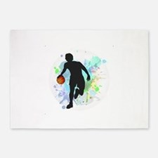 Basketball Player Dribbling Ball in 5'x7'Area Rug