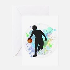 Basketball Player Dribbling Ball in Greeting Cards