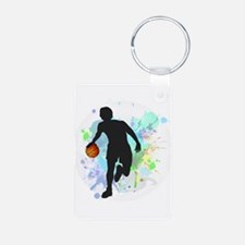 Basketball Player Dribbling Ball in Circ Keychains