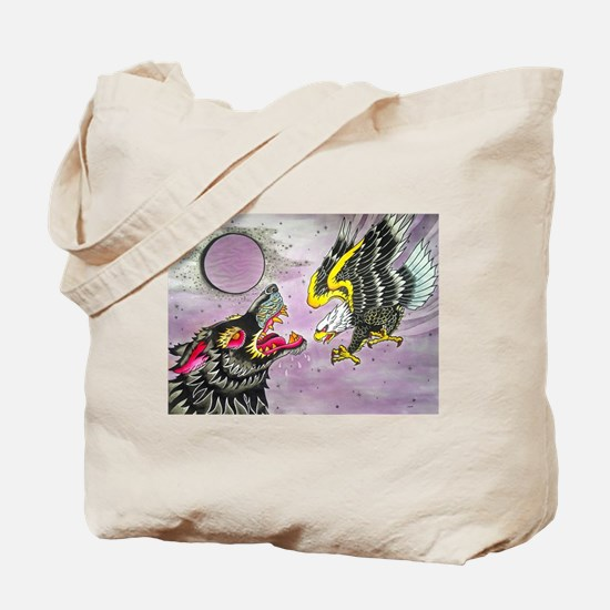 Wolf and Eagle Tote Bag