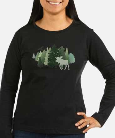 Moose in the Forest Long Sleeve T-Shirt