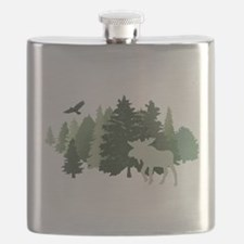 Moose in the Forest Flask