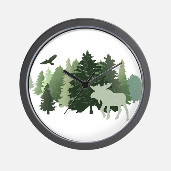 Moose in the Forest Wall Clock