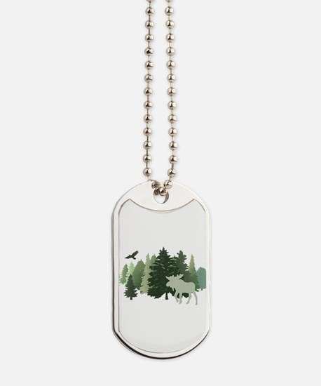 Moose in the Forest Dog Tags
