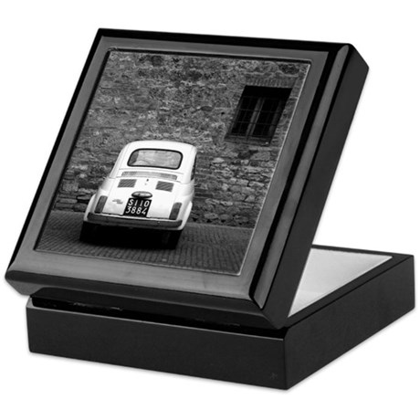 Old Fiat 500 in Tuscany Keepsake Box