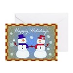 Snowman Couple Greetings Greeting Cards (Pk of 10)