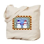 Snowman Couple Greetings Tote Bag