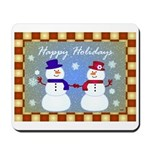 Snowman Couple Greetings Mousepad