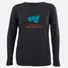 Just Keep Swimming Plus Size Long Sleeve Tee