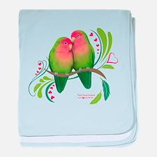 Peach Faced Lovebirds baby blanket