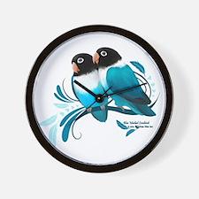 Blue Masked Lovebirds Wall Clock